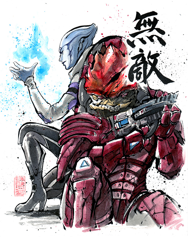 mass_effect_oc_purple_n7_marine_sumie_style_by_mycks-d6qpalx