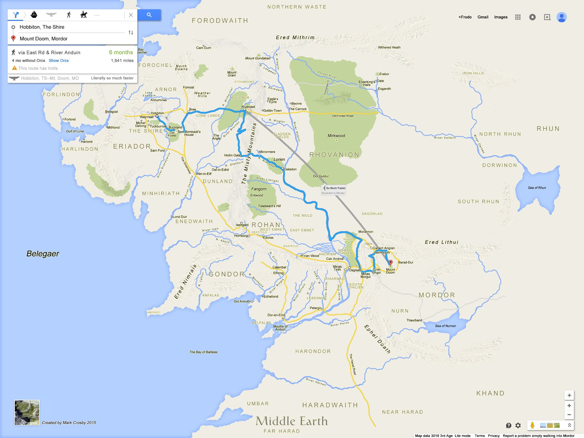 Maps Google Maps: Middle Earth As A Google Map